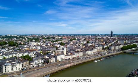Aerial view on the Quai de la Fosse in Nantes city center, Loire Atlantique, France