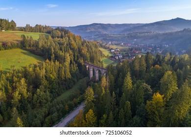 Aerial view on railway viaduct. Wisla, Silesian Beskid, Poland