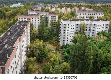Aerial view on residential area of abandoned Pripyat city in Chernobyl Exclusion Zone, Ukraine
