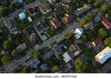 Aerial view on the residential area of Vilnius city