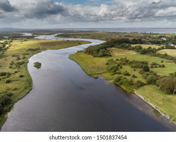 Aerial view on river Corrib, Cloudy blue sky. County Galway, Ireland.