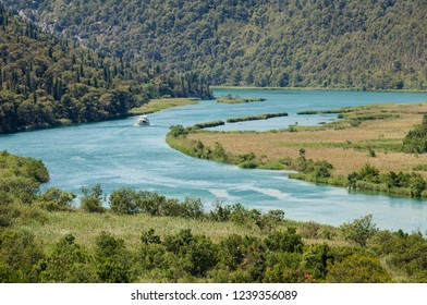 Aerial view on river in Krka national park in Croatia
