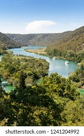 Aerial view on river of Krka national park in Croatia