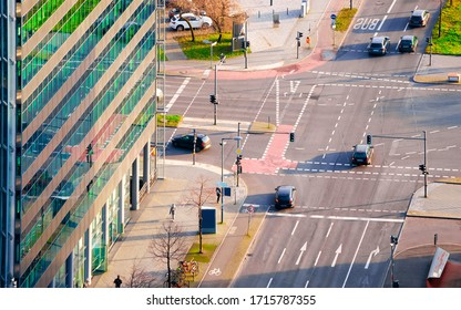 Aerial view on road with car traffic and modern building architecture in Potsdamer Platz Square in German City centre in Berlin in Germany in Europe. Building architecture. Details - Shutterstock ID 1715787355