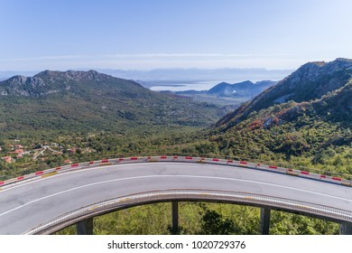 Aerial view on Road serpentine on the road from Petrovac to the Skadar Lake. Montenegro.