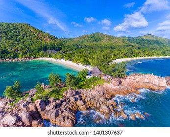 An aerial view on a rock between Grand Anse and Petite Anse on Praslin island, Seychelles