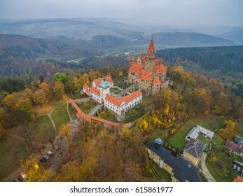 Aerial view on romantic fairy castle in autumn landscape. Bouzov, Czech republic.