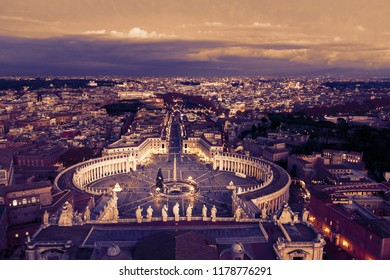 Aerial view on Rome, Italy. Evening. Selective focus. Sunset. Toned.