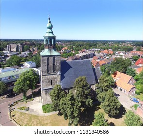 Aerial view on the  Saint Ludger church in Nordhorn, Germany