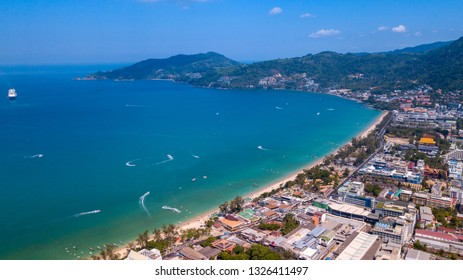 Aerial view on the sand beach line at Patong beach area - Phuket island,Thailand