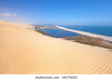 Aerial view on Sandwich harbour in Namibia, Africa