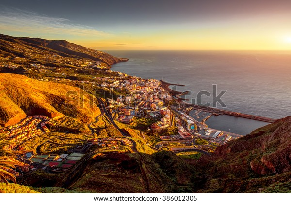 Aerial view on Santa Cruz city in the moorning on La Palma island in Spain