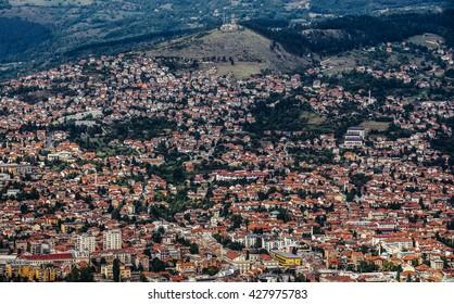 Aerial view on Sarajevo city, Bosnia and Herzegovina