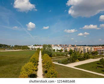 Aerial view on Scharnhauser Park with its park and housing projects for families near Stuttgart in Germany