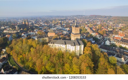 Aerial view on the Schwanenburg castle in Cleves, Germany