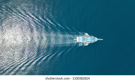 Aerial view on the sea and boat. Beautiful natural seascape at the summer time
