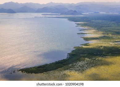 Aerial view on a shore of Lake Skadar in Montenegro