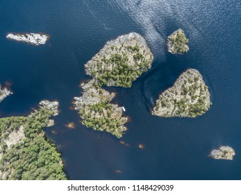 aerial view on small islands in the Ladoga lake. Karelia.