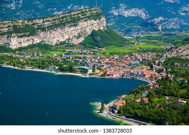 aerial view on the small village Nago-Torbole on the north of Garda Lake, Italy