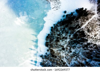 Aerial view on the snow-covered Weitsee and Lödensee, Reit im Winkl, Chiemgau, Bavaria, Germany