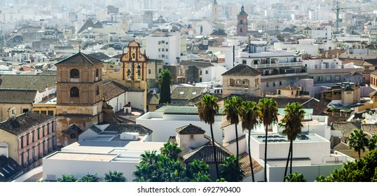 Aerial view on the spanish city, Malaga, Andalouse. Spain