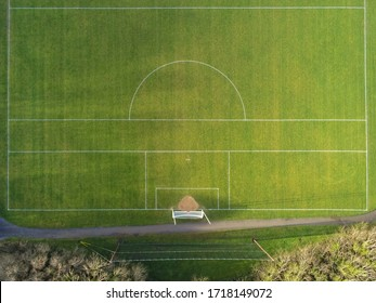 Aerial view on a sport training field for Irish sports with goal posts for football soccer, rugby, hurling and camougie.