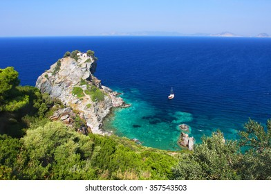Aerial view on St. Ioannis - Kastri (famous filming location from Mamma Mia! musical), Skopelos island, Greece