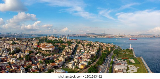 Aerial view on Sultanahmet district with the Blue Mosque and Hagia Sophia in Istanbul, Turkey