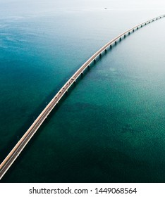 aerial view on a sunny day of a long brigde over the sea in Galicia, Spain