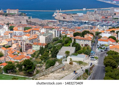 Aerial view on a sunny day at the fort of St. John and the old port. Marseilles. France.
