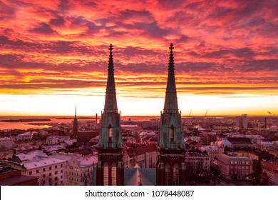 Aerial view on sunset background, Helsinki, Finland