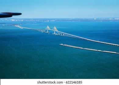 Aerial view on Sunshine Skyway Bridge, close to St. Petersburg, Florida