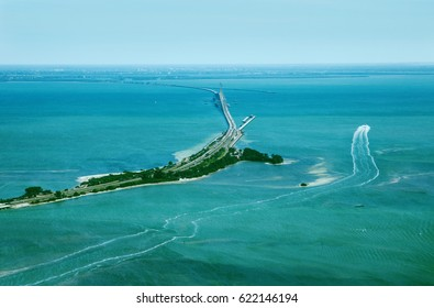 Aerial view on Sunshine Skyway Bridge, close to St. Petersburg, Florida