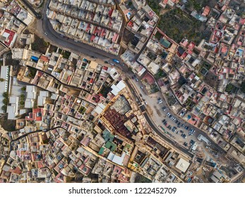 Aerial view on the tannery leather manufacturing in old Medina in Fes, Morocco (Fes El Bali Medina)
