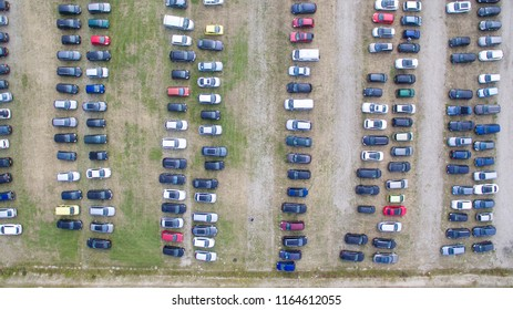 Aerial view on a temporary parking lot