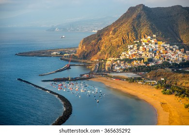 Aerial view on Teresitas beach near Santa Cruz de Tenerife on Canary islands, Spain.