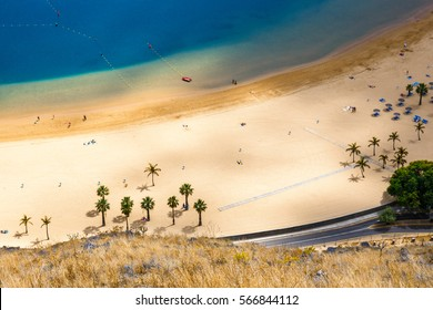 Aerial view on Teresitas beach near Santa Cruz,Tenerife, Canary islands, Spain