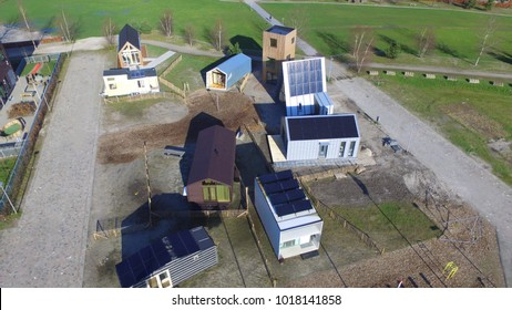 Aerial view on Tiny Houses in Almere, Netherlands