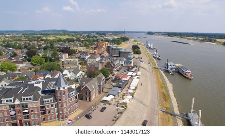 Aerial view on Tolkamer and the river rhine on the border of the netherland and germany.