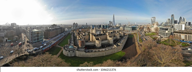 Aerial view on Tower Bridge and Shard in sunny day, London