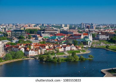 Aerial view on a Trinity suburb - old historic centre, and Minsk city, Minsk, Belarus.