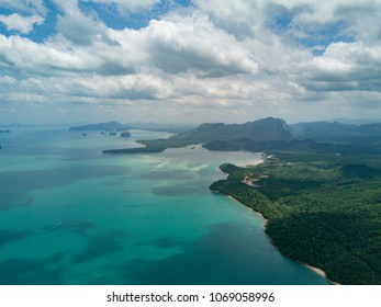 Aerial view on Turquoise Lagoon. Tropical Beach. Scenic Seascape.