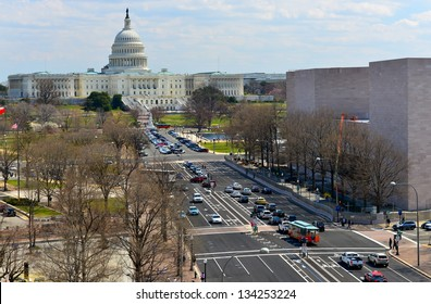 Aerial View on US Capitol and Pennsylvania avenue in Washington DC, United States