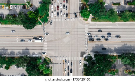 Aerial view on US Interstate Highways System. Top view on South Florida Intersection.
