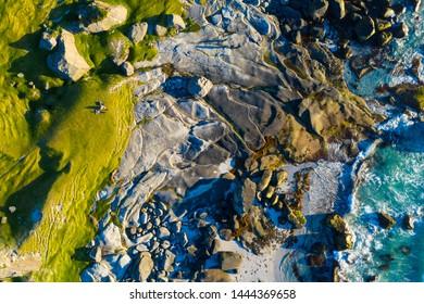aerial view on the Uttakleiv beach