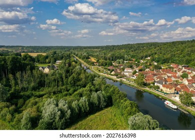 aerial view on the village of mailly la ville in bourgogne