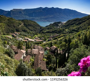 aerial view on the villages of Tremosine ,on the Lake Garda
