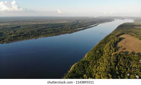 Aerial view on Volga, Russia
