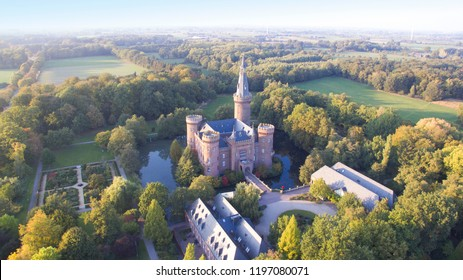 Aerial view on the water castle Schloss Moyland in Germany