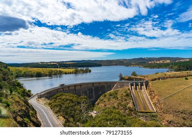 Aerial view on water reservoir, dam on sunny day. Myponga, South Australia